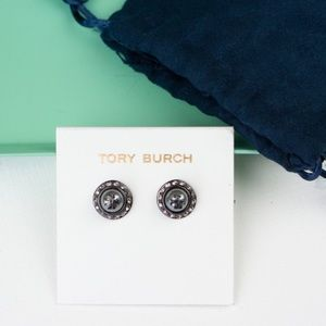 TORY BURCH NATALIE GREY CRYSTAL STUD EARRINGS